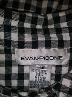 Evan Picone 14W Button Front-- Long Sleeve Black/White Plaid Shirt
