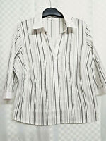 Ladies M&S Collared Top Size 18 White Striped Stretch Cotton Blend Long Sleeve