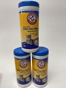 Arm & Hammer Heavy Duty Cat Litter Pan Scrubbing Fibers Wipes 30 Count 3 Tubs