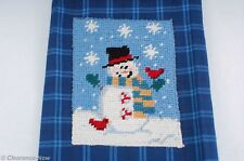 Holiday Needlepoint Snowman Kitchen Dish Cloth Blue Plaid Cecil Saydah New 6425