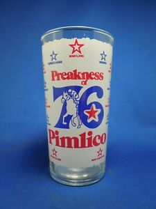 Vintage Drinking Glass from the 1976 Preakness Horse Race-'76 Pimlico