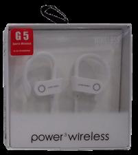 G5 Sports Power 3 Wireless Bluetooth BT Water Resistant In-Ear Headphones White