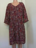 GARNET HILL PURPLE MULTI-COLOR FLORAL PRINT V-NECK TUNIC DRESS, SIZE 18