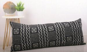 Mudcloth Bolster Pillow Cover Handloom Lumbar Pillow Case Cotton Slub Pillowcase