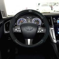 For Infiniti Steering Wheel Cover Anti-Slip Black Carbon Fiber Top PVC Leather