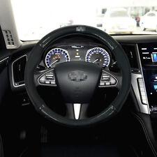 Anti-Slip Black Carbon Fiber Top PVC Leather Steering Wheel Cover for Infiniti