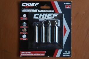 """Chief 2""""Aluma-Cut Wide Flute Genuine Solid Carbide Burrs CH2AC New 4 Piece"""