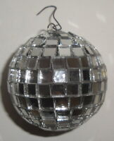 VINTAGE SILVER DISCO BALL ORNAMENT - 1970 2'' Christmas Mirror Faceted Tree