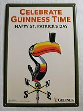 New Celebrate Guinness Beer Toucan St. Patrick's Day Wall Tin Sign 18.5 x 13 In.