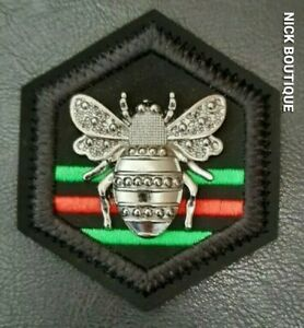Bee Patch Sew On Clothes Embroidery Bumblebee Black Badge Red Green Stripes Gift