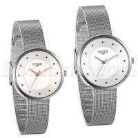Womens Fashion Stainless Steel Mesh Band Analog Quartz Wrist Watch Bracelet Cuff