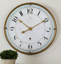 Gold Rimmed Round Metal Wall Clock | Cottage Light Blue Ivory