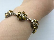 925 Sterling Silver Yellow Green Amber Bracelet Flower Stones Petal