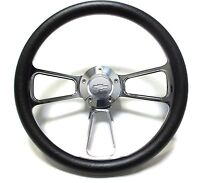 """Black Steering Wheel 14"""" Billet Muscle Style Wheel with Chevy Bowtie Horn Button"""
