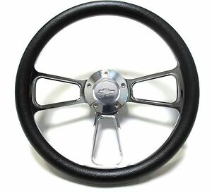 "Black Steering Wheel 14"" Billet Muscle Style Wheel with Chevy Bowtie Horn Button"