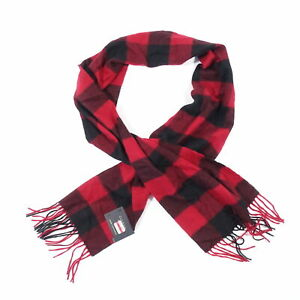 CLUB ROOM LUXURY PLAID CHECK RED 100% CASHMERE SOFT SCARVES NECK SCARF MENS NEW