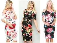 Maternity Floral Bodycon,Cold shoulder Evening Dress,office wear,Baby shower