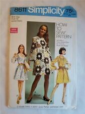 1969 Simplicity 8611 Size 11 Jrs Petite Zipper Back Dress Sewing Pattern