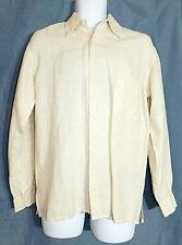 Europann Shirt Linen Collared Off White Ivory Long Sleeve Men's size Small One