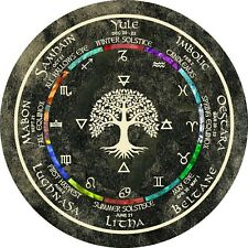 """Wheel of the Year Pagan Wiccan Calendar Altar Wall Art Tree of Life Black  5"""""""