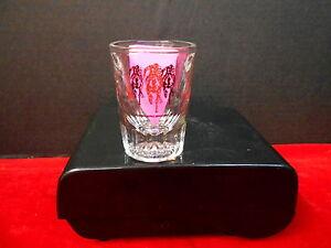1997 KENTUCKY DERBY 123 HEAVY 2 oz SHOT GLASS, CLEAR WITH BLACK/GOLD LOGO