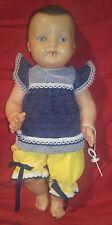 CONVERT Bébé en celluloïd Taille 30 yeux bleus fixes tétine et vêtements 1950