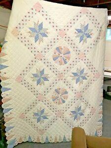 "Soft Red Blue Beige Star Quilt 62"" x 82"" Machine Sewn & Hand Made Quilt TWIN BED"
