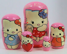 5pcs Hand Painted Russian Nesting Doll of Hello Kitty Large 7.25 inches tall