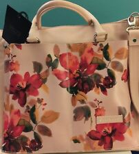 NWT Cavalcanti Italian Leather Floral Tote Zip Large Shoulder Bag