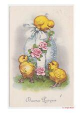 Augurali vintage uovo di Pasqua celeste con rose pulcini decorazioni pasquali