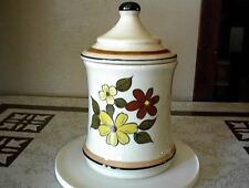 COOKIE JAR CANISTER YELLOW BROWN DAISIES STONEWARE VINTAGE JC PENNY LID FLOWERS