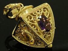 P19 Genuine 9K Yellow Gold Amethyst Citrine Garnet & Peridot Fob Lantern Pendant
