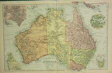 1912 LARGE ANTIQUE MAP ~ AUSTRALIA ~ PLAN OF MELBOURNE ENVIRONS SYDNEY ADELAIDE