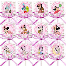 Baby Minnie Mouse Lollipops w/ Pink Bows Favors -12