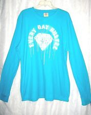 Young Men's Original Hybrid Threads Aqua White Every Day Hustle Diamond Shirt XL