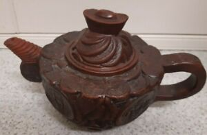 Vintage Chinese Yixing Clay Embossed Design Teapot Stamped To Base