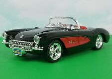 WELLY 1957 FUEL INJECTED CORVETTE COVERTIBLE BLACK/RED DIECAST 1/24 + DISP. CASE