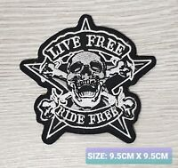 LIFE FREE RIDE FREE biker logo Embroidered Iron /Sew On Patch Badge