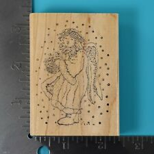 Delta WOOD Mounted CHERUB ANGEL Scroll Rubber Stamp for Stamping but older from years ago New