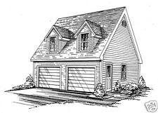24 x 24 2 Car TD / RD Garage Building Blueprint Plans with pull dn stair / Loft