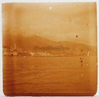 Menton 1904 Panorama Francia Foto Stereo PL58L Placca Lente Vintage