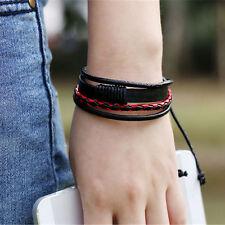 Fashion Mens Women Surfer Tribal Wrap Multilayer Leather Wristband Bracelet Cuff