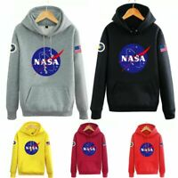 Adults Teens Unisex NASA Logo Pullover Hoodie Heeded Top Trendy Sweatshirt Coat