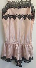 Victoria's Secret Rose Blush Satin Dentelle Teddy Ange Lingerie MEDIUM
