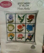 "Wonder art stitchery Needlecraft 12"" pillow Flower Medley  Model 9108"