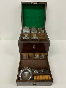 Victorian Mahogany Apothecary Box Antique Medicine Bottle Cabinet Travelling
