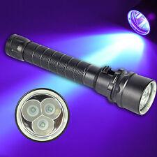 NEW Diving Flashlight 365-395nm 3x XPE UV LED Light Scuba Underwater 100M Torch