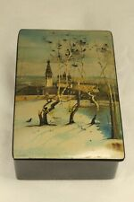 "Fedoskino Russian Lacquer Signed 5¼"" Box THE ROOKS ARE RETURNING Made in USSR"