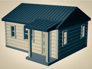 """""""The Outdoor Series"""" - Cabin #1 - Camping - Modeled in Color - Z Scale 1:220  3D"""