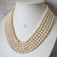 "Pearl Zone Freshwater Pearl Necklace 6-8mm Off Round/Rice 100"" 50"" 34"" 22"" UK"